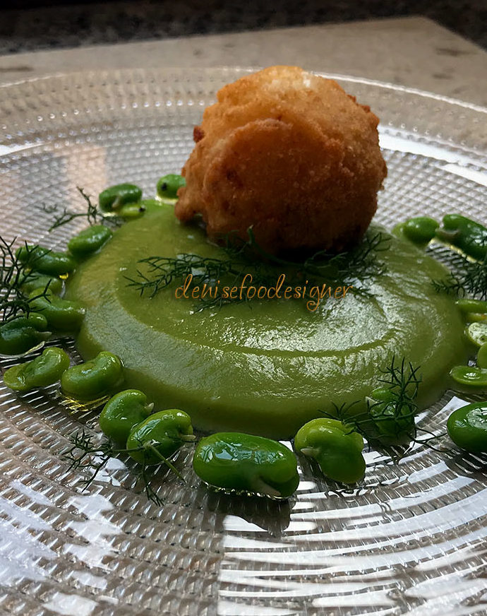 FRIED MOZZARELLA, PEAS PURÉE AND CRISPY BROAD BEANS