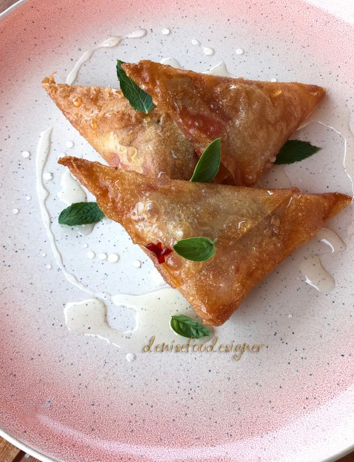 CRISPY TRIANGLES WITH SWEET AND SOUR SAUCE
