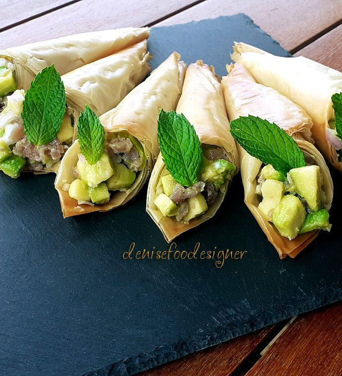 PHYLLO PASTRY CONES WITH SMOKED TUNA AND AVOCADO